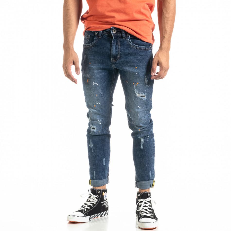 Мъжки сини дънки White Orange Paint  it020920-15