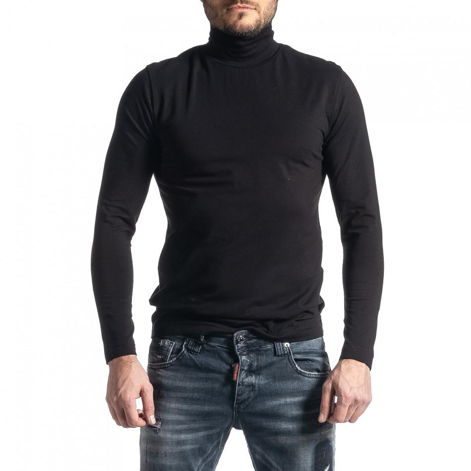 Памучно черно поло от стегнато трико it010221-68
