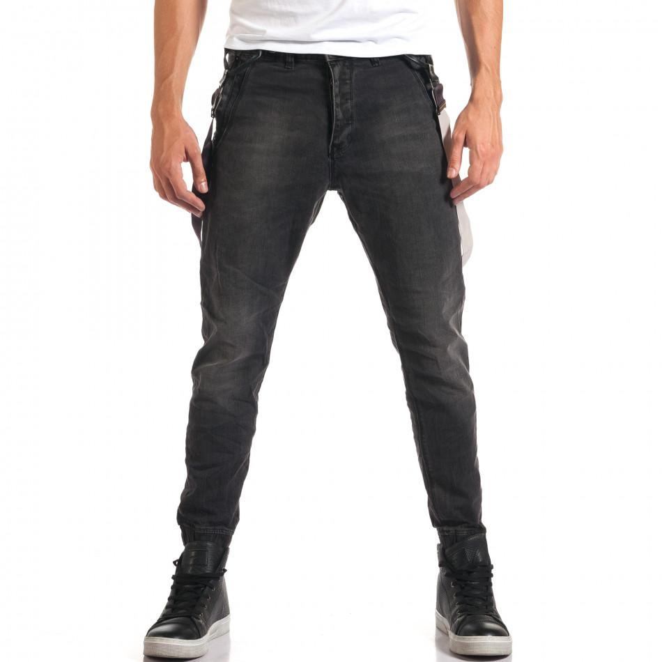 Мъжки сиви дънки със смъкнато дъно и тиранти it160916-20