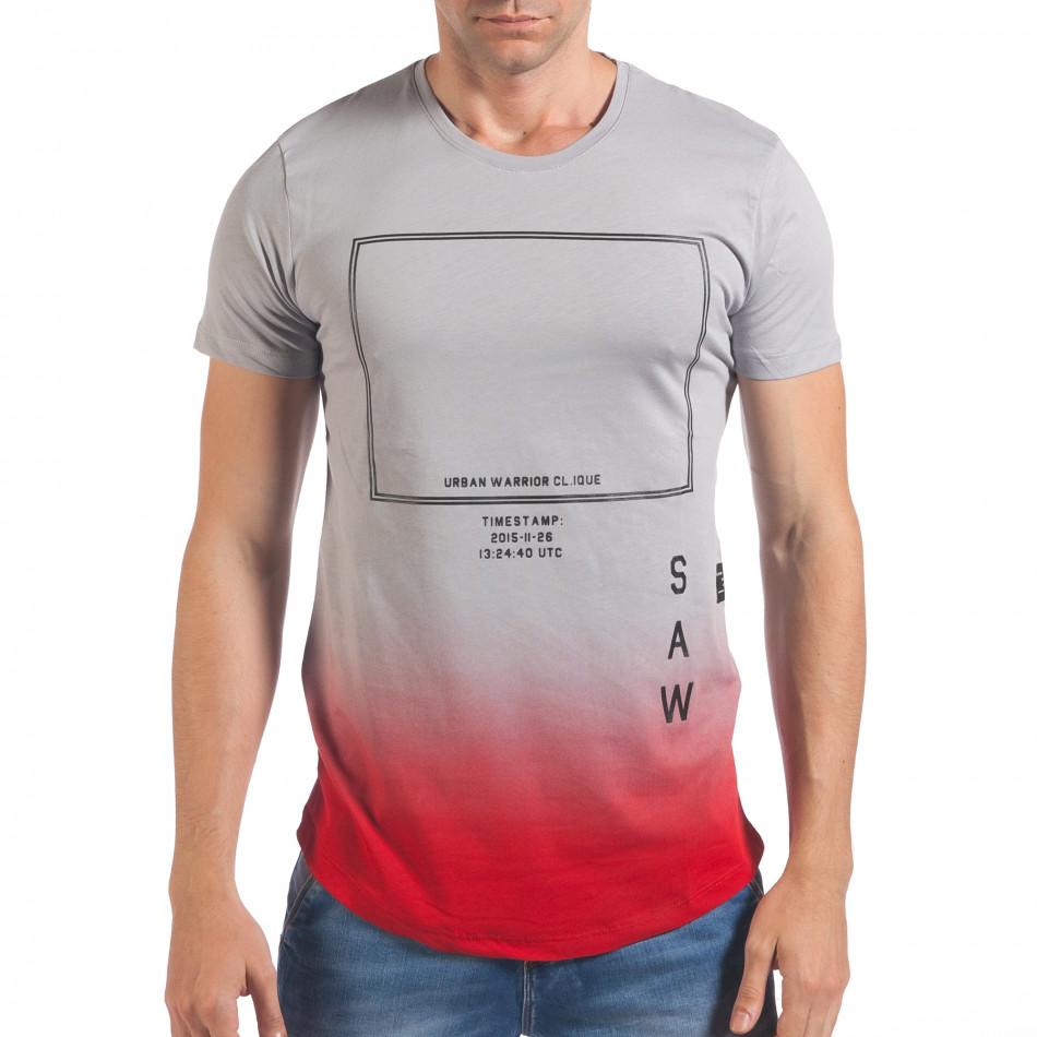 Мъжка сива тениска с червено в края il060616-27