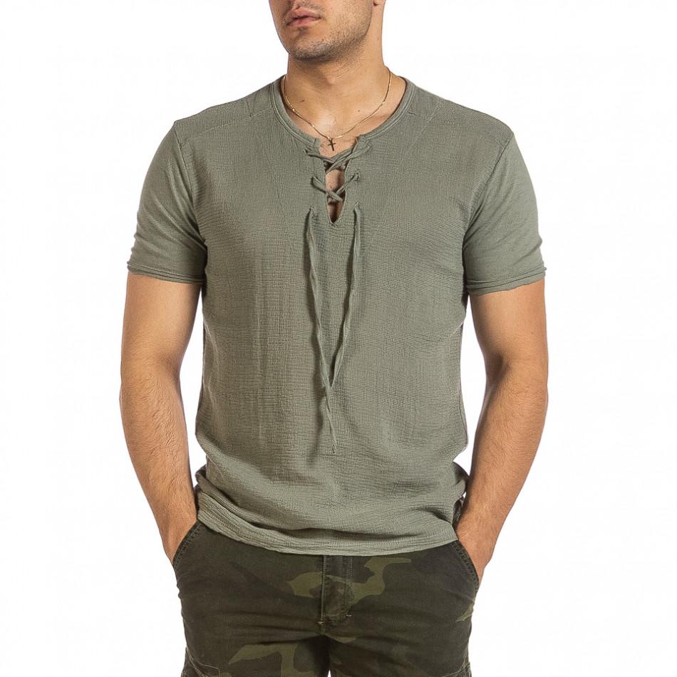 Текстурирана зелена тениска с връзка it240621-6