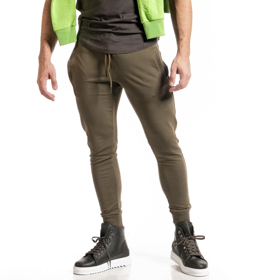 Мъжко зелено долнище от стегнато трико it261120-5