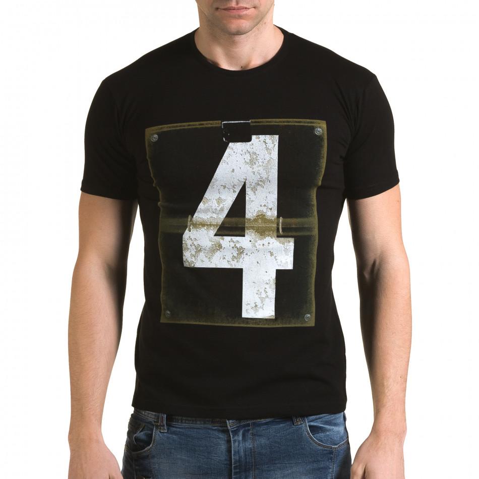 Мъжка черна тениска с номер 4 il120216-43