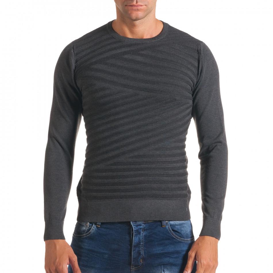 Мъжки тъмно сив пуловер на светло сиви райета it170816-17