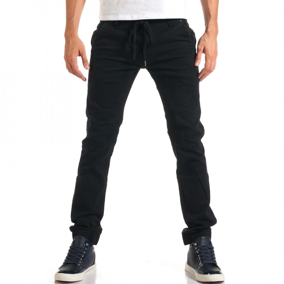Мъжки черни дънки с връзки на кръста it160916-13