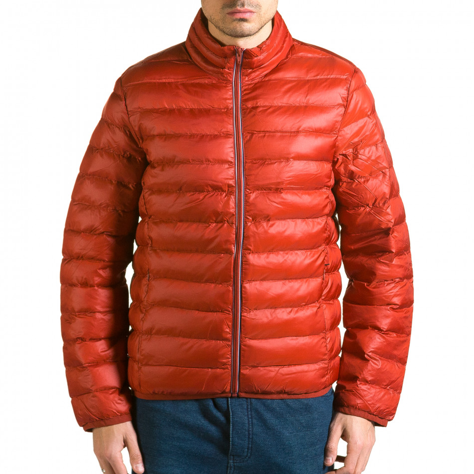Мъжко червено яке с бежова подплата it110915-4