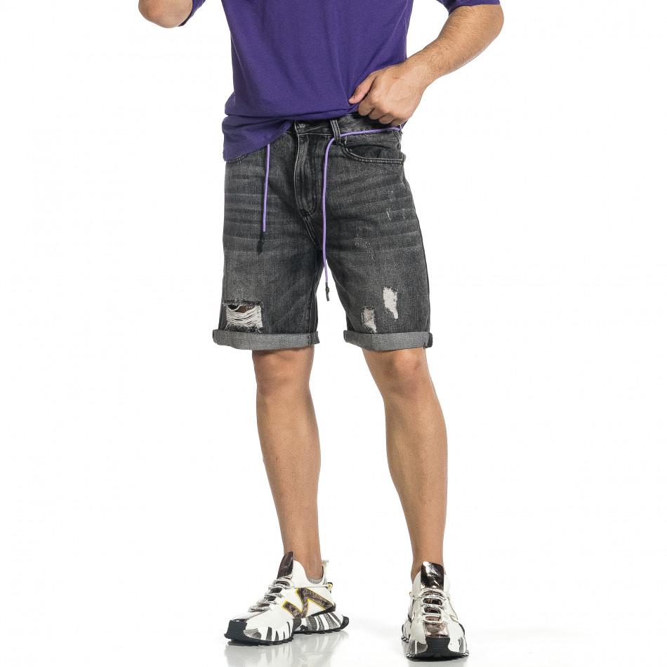 Loose fit мъжки сиви къси дънки it150521-36