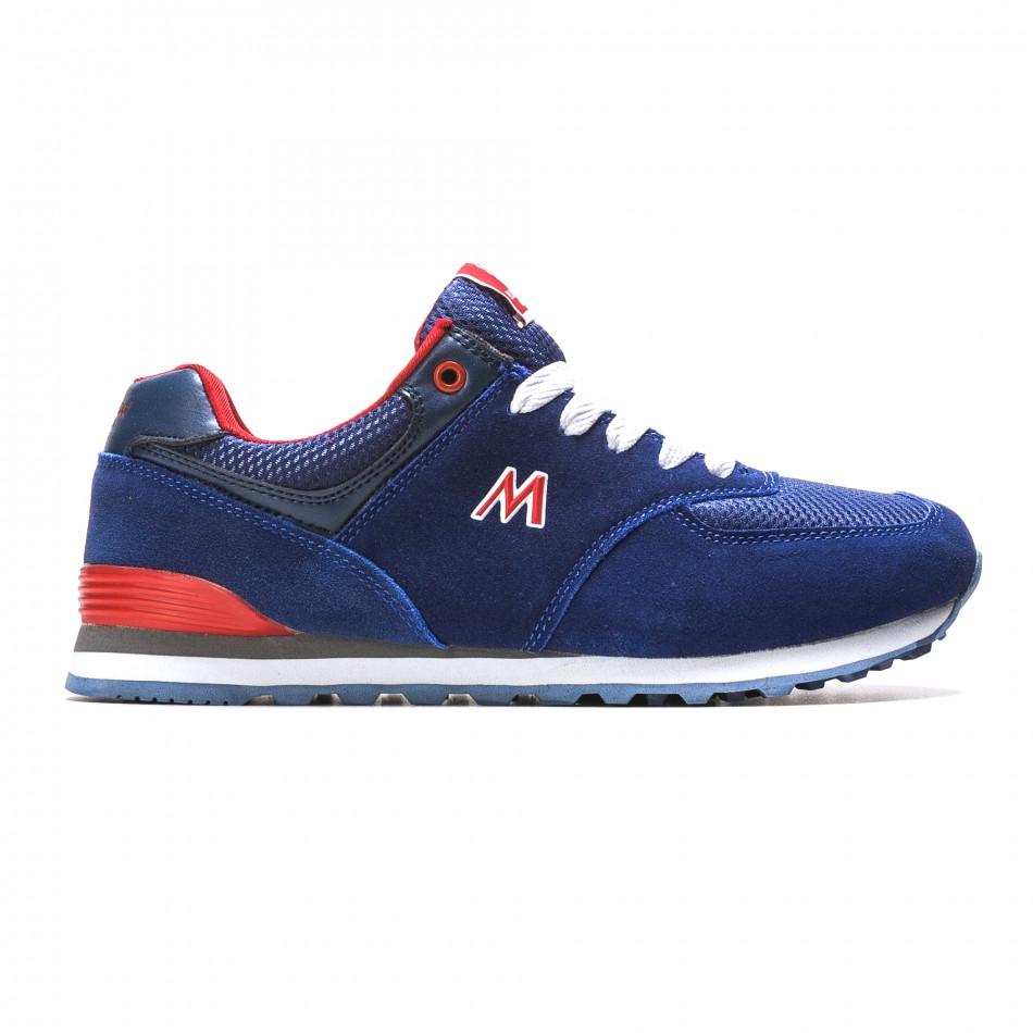 Мъжки сини маратонки с червени детайли it110316-102