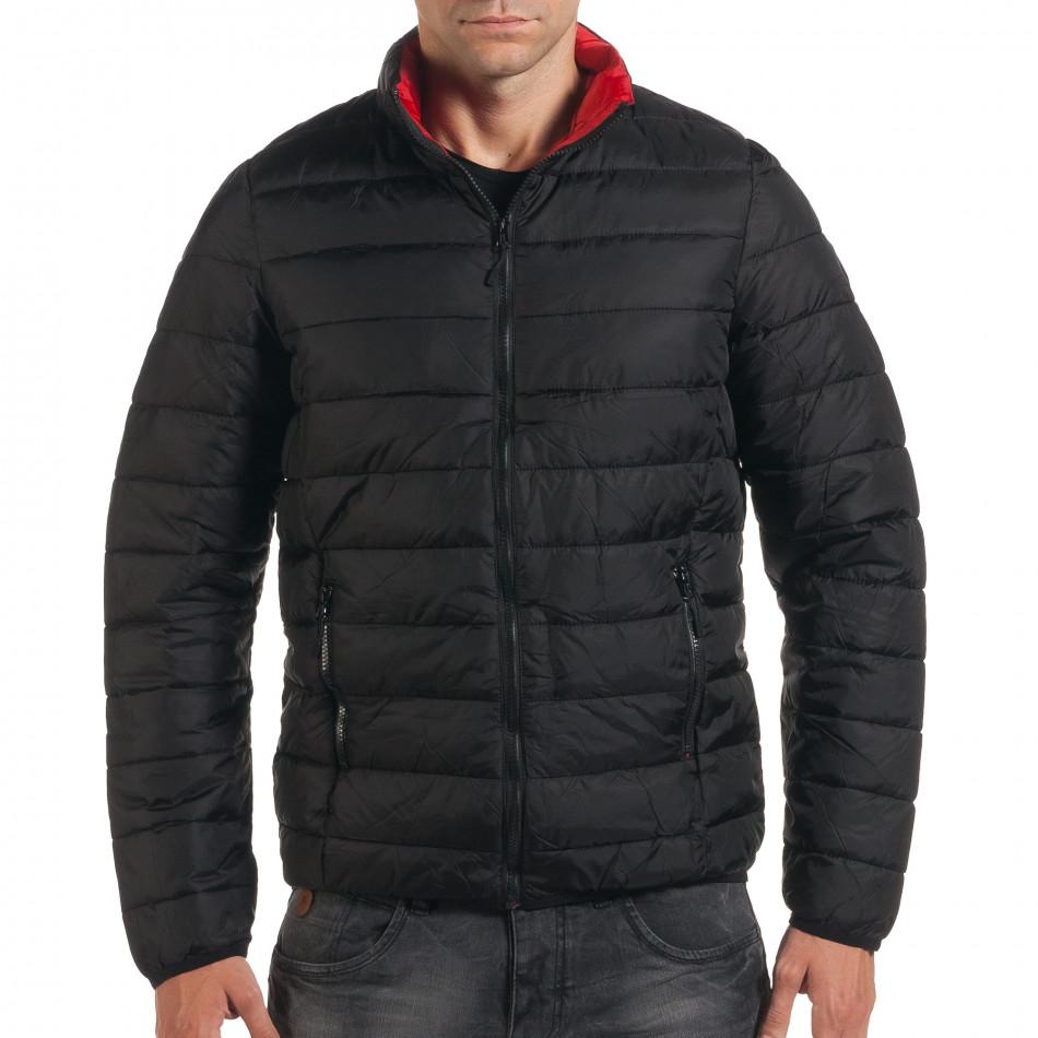 Мъжко черно пролетно-есенно яке с червена подплата it190616-15