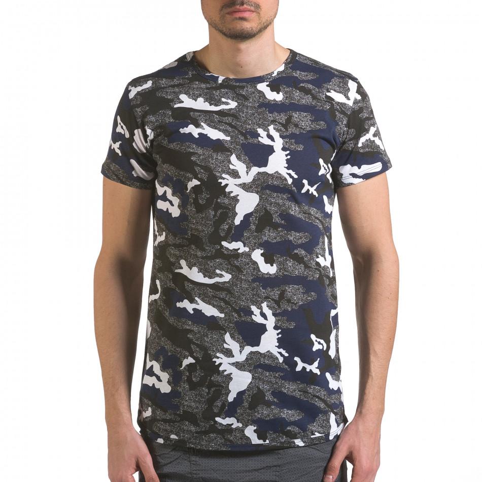 Мъжка тениска сиво-син камуфлаж it110316-96