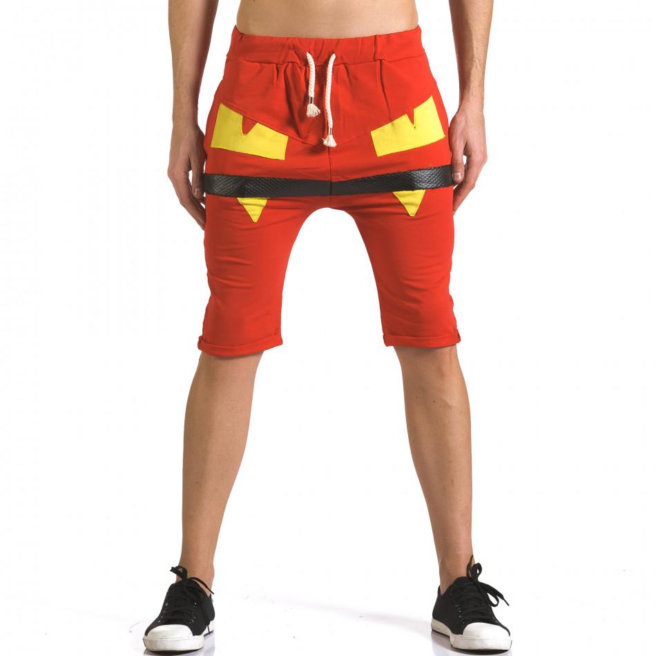 Мъжки червени шорти с жълти детайли it110316-74