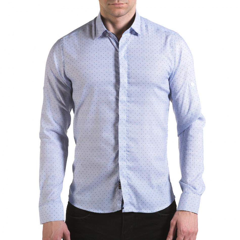 Мъжка светло синя риза с малки детайли и скрити копчета il170216-112