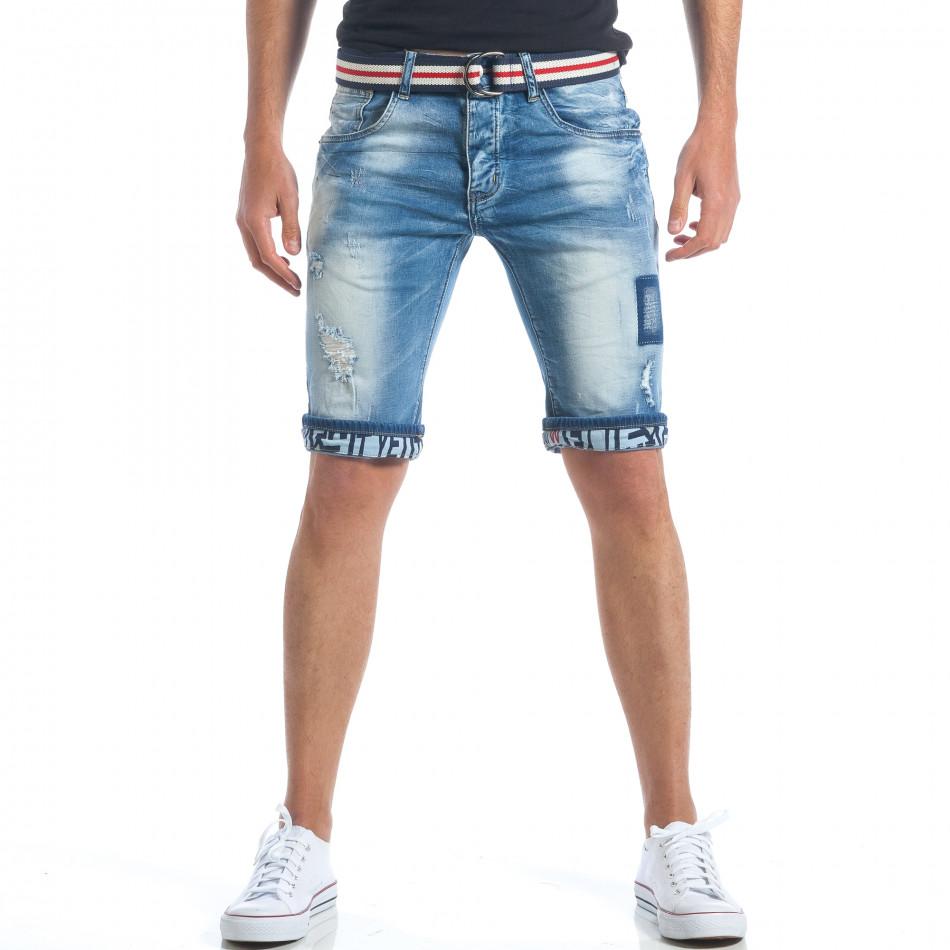 Мъжки къси дънки с текстилен колан it190417-64