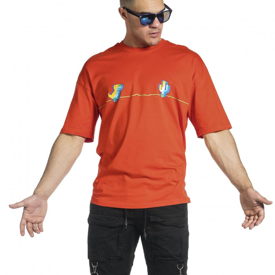 Мъжка червена тениска Dinosaur Oversize tr150521-1