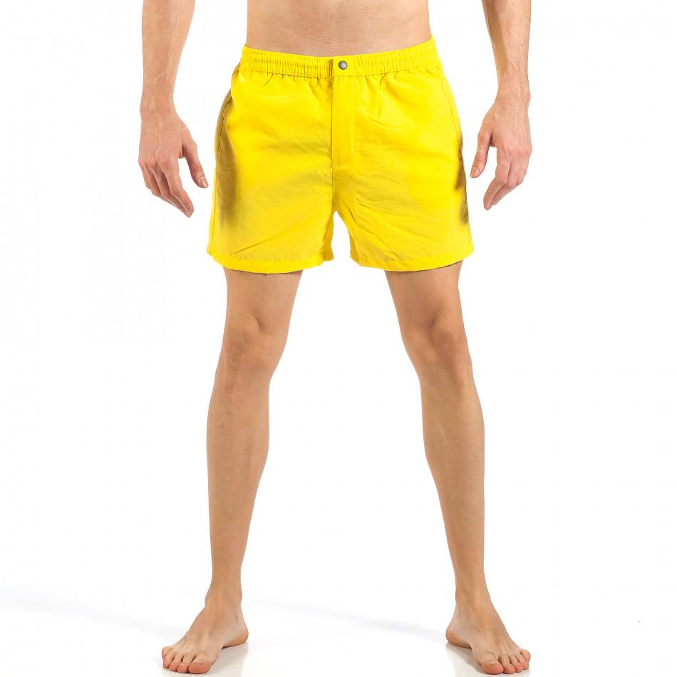 Мъжки жълт бански с цип и копче it260318-203