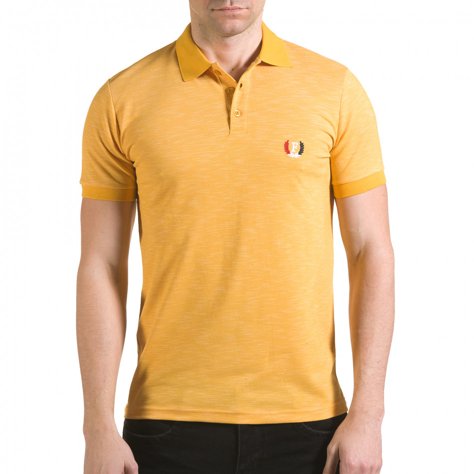 Мъжка жълта тениска с яка с лого il170216-40