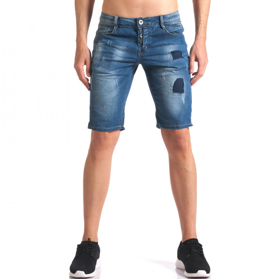 Мъжки къси дънкови панталони с джобове it250416-33