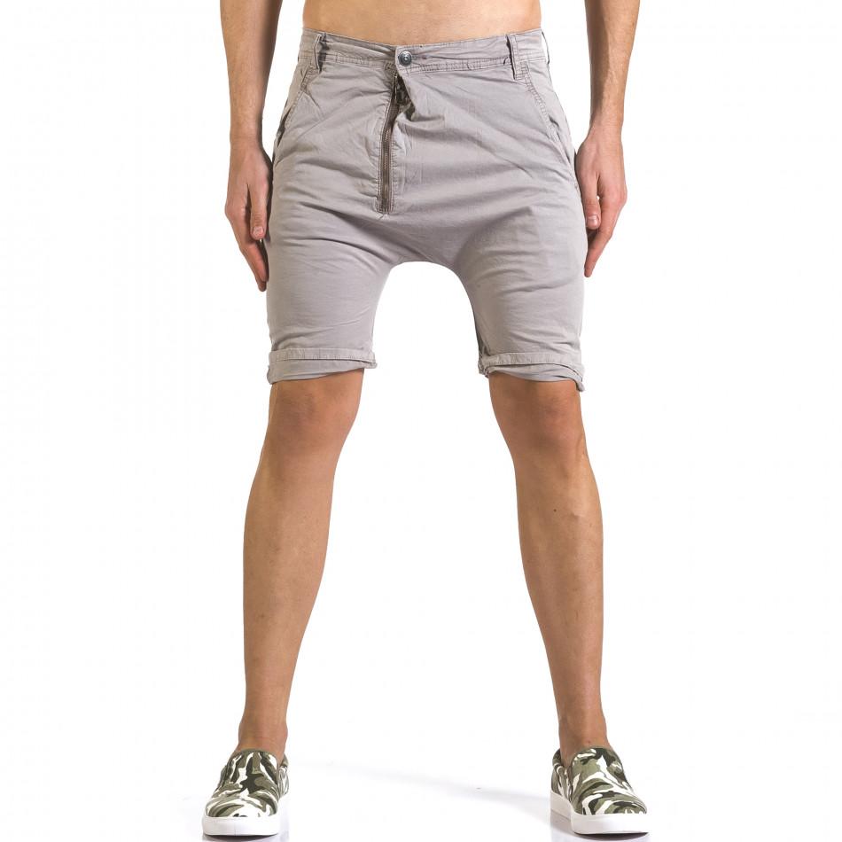 Мъжки сиви къси панталони със смъкнато дъно it110316-34