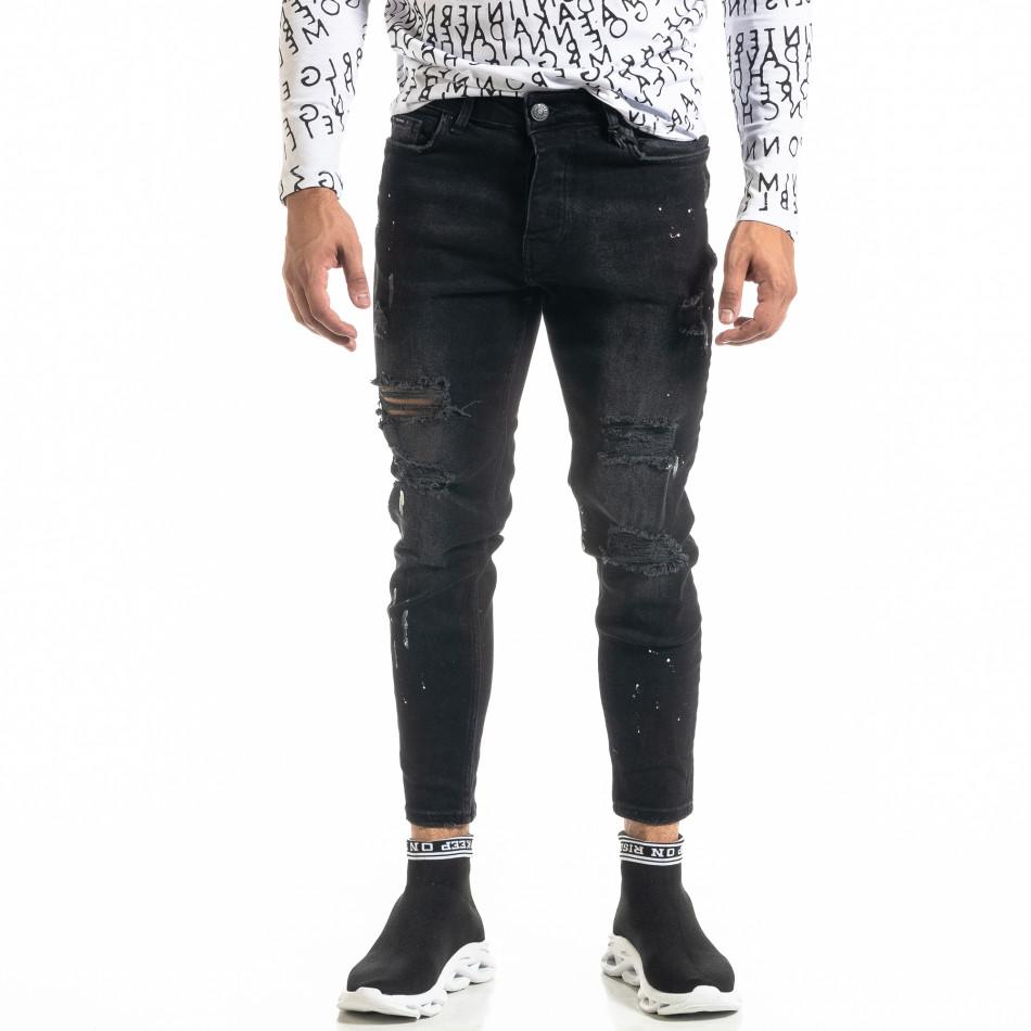 Мъжки черни дънки Destroyed Paint tr020920-8