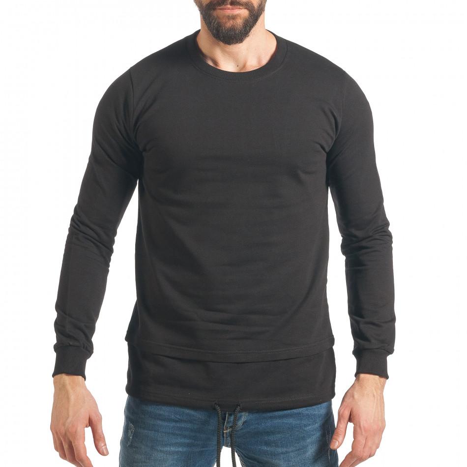 Мъжки черен суичър с връзка it290118-101