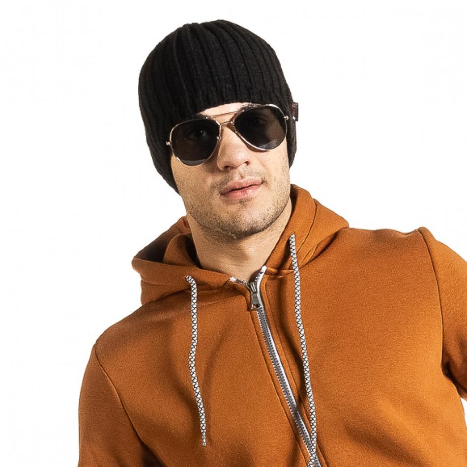 Черна мъжка шапка ластична плетка il161220-6
