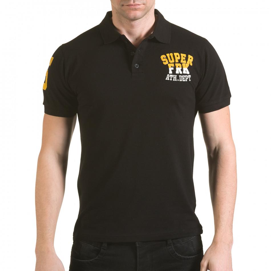 Мъжка черна тениска с яка с релефен надпис Super FRK il170216-25