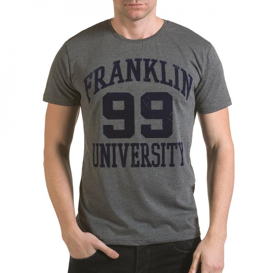 Мъжка сива тениска с релефен надпис Franklin 99 il170216-2