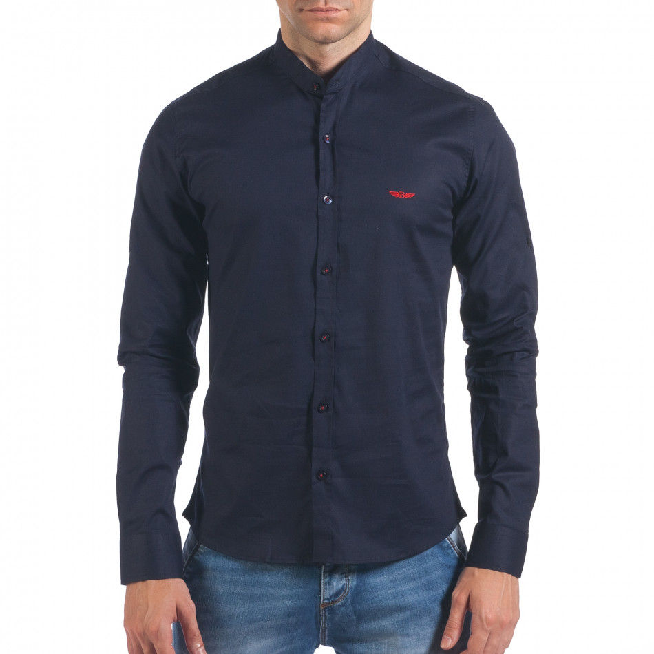Мъжка синя риза с попска яка il060616-109