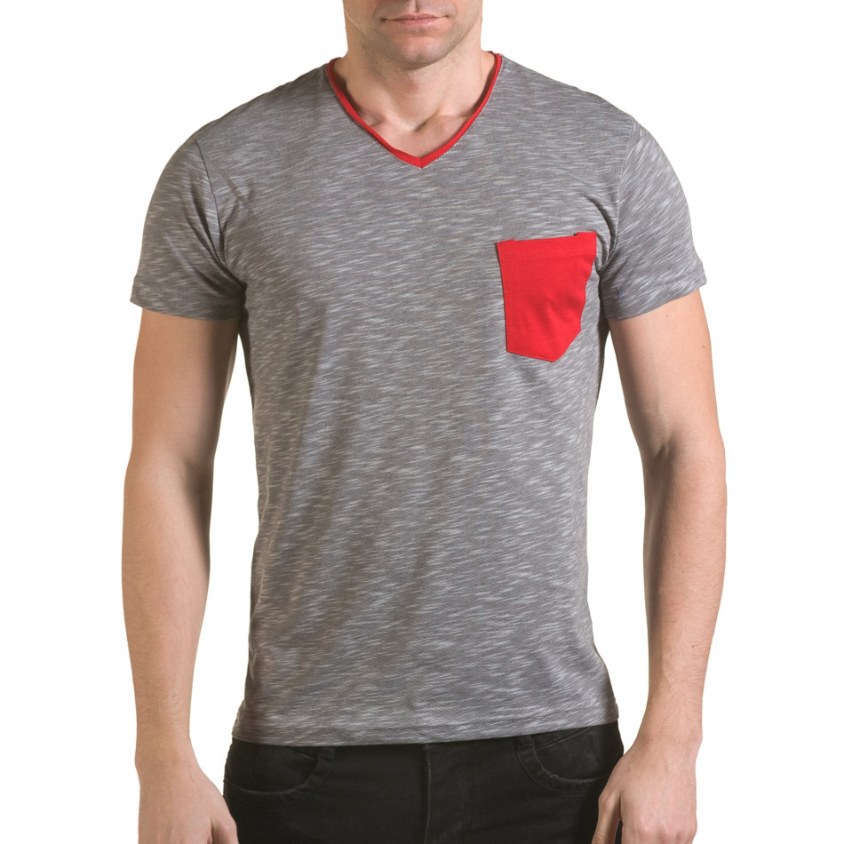 Мъжка сива тениска с червен джоб il170216-17