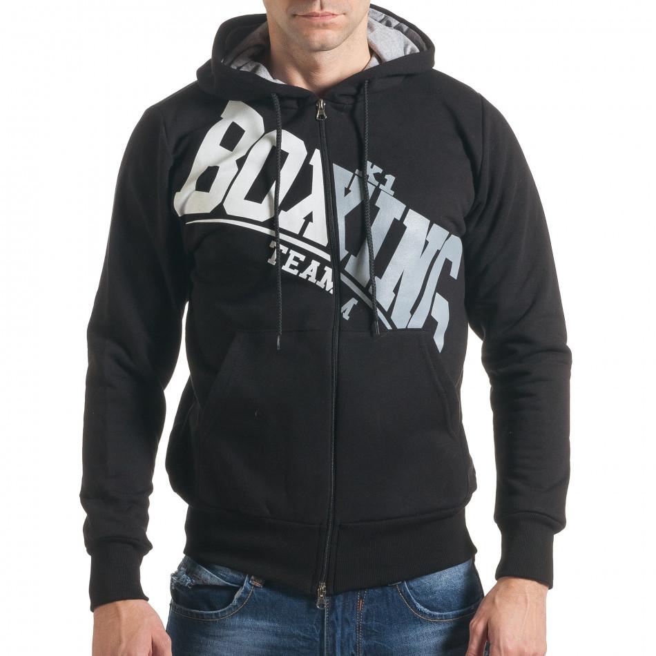 2b3bde52e4e Мъжки черен суичър с диагонален надпис Boxing it211116-41 ...