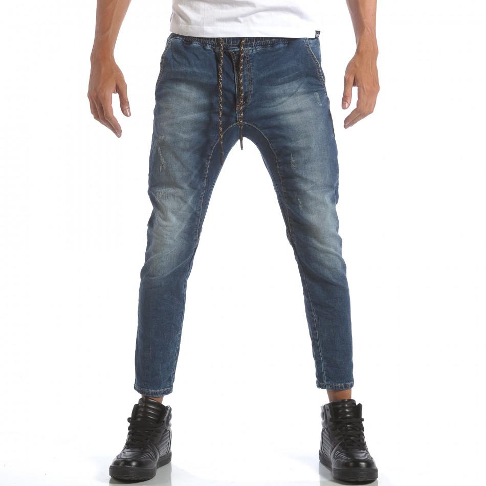 Мъжки дънки с ластик на кръста it160817-1