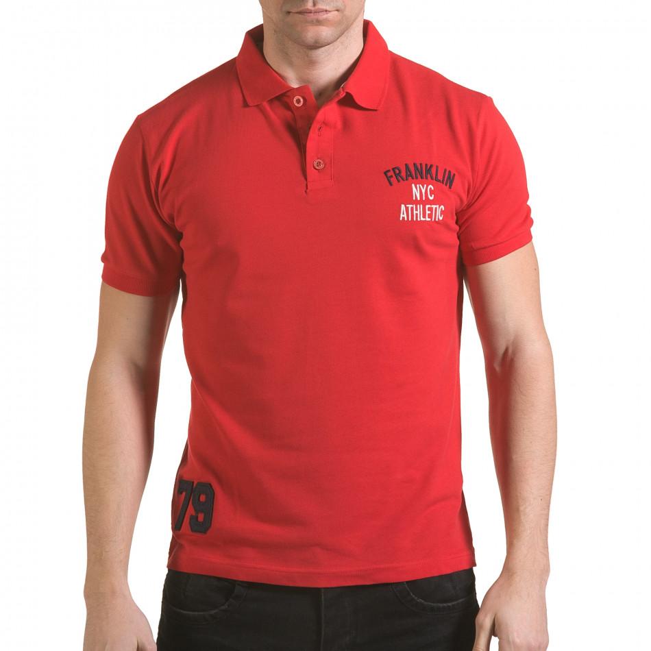 Мъжка червена тениска с яка с надпис Franklin NYC Athletic il170216-29