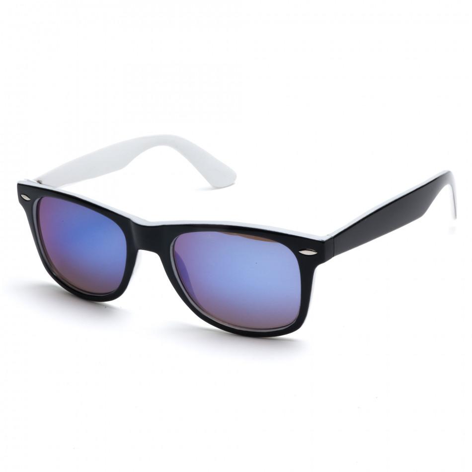 Мъжки бели слънчеви очила със сини огледални стъкла it260416-4