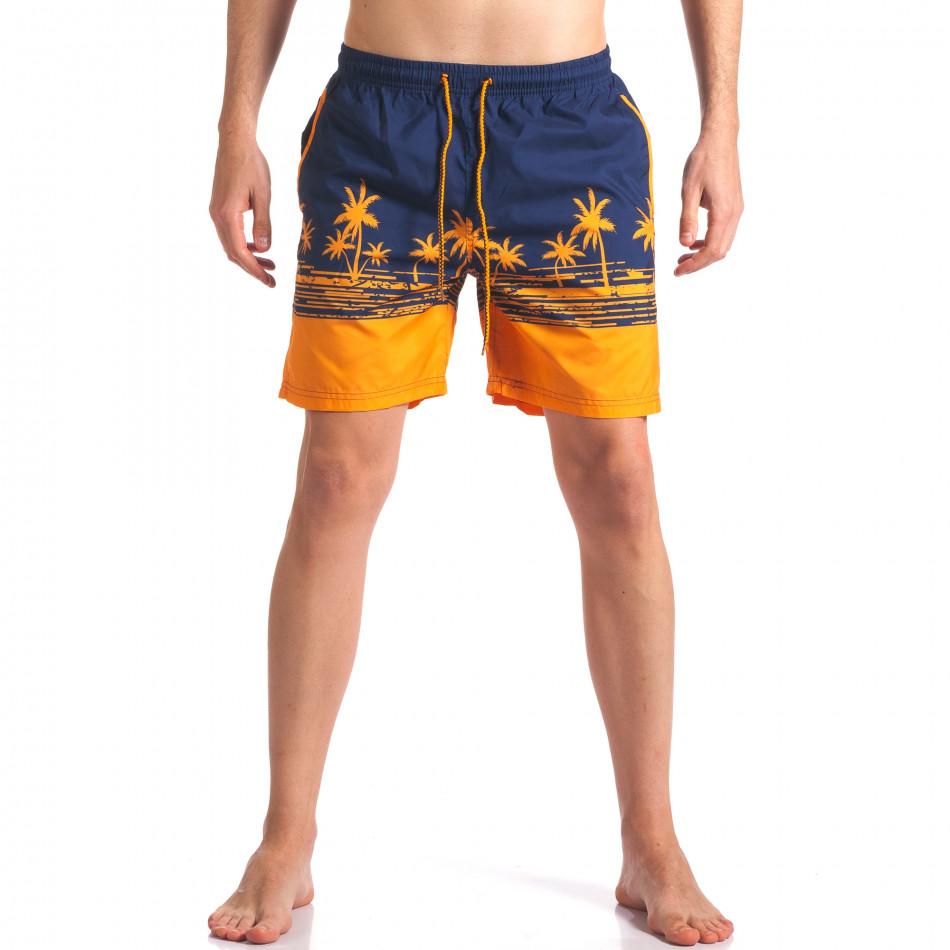 Мъжки сини бански с оранжеви палми it250416-40