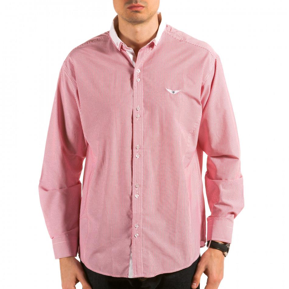 Мъжка червено-бяла раирана риза il180215-178