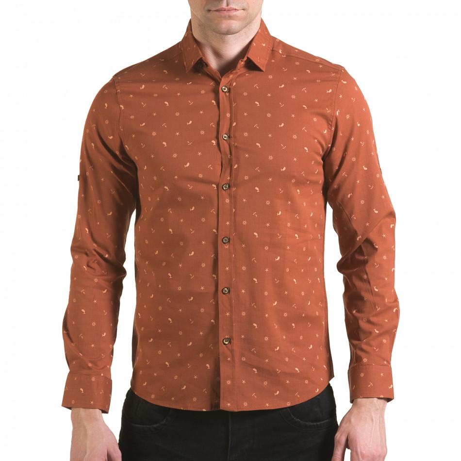 Мъжка кафява риза с котвички и китове il170216-96