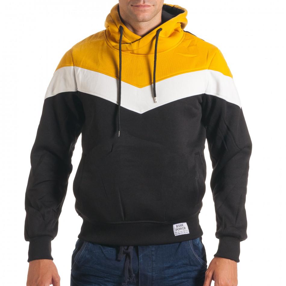 Мъжки черен суичър със жълта и бяла част it240816-66