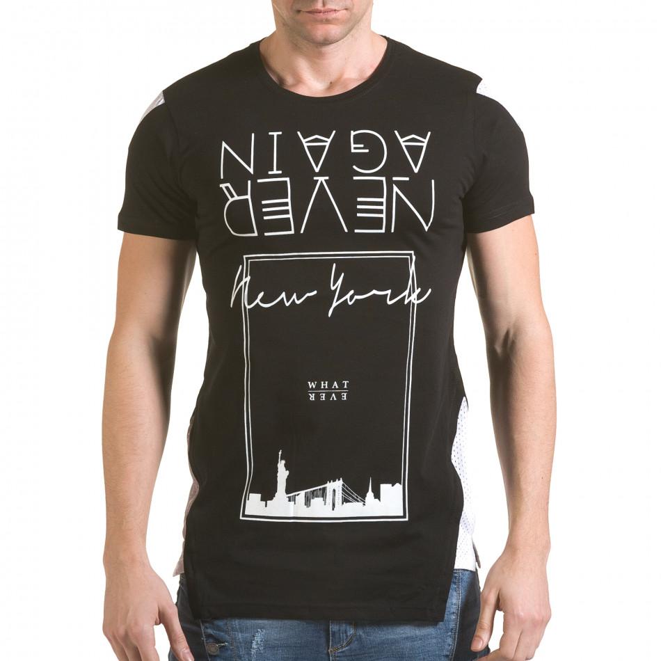 Мъжка черна тениска с обърнат надпис il170216-60