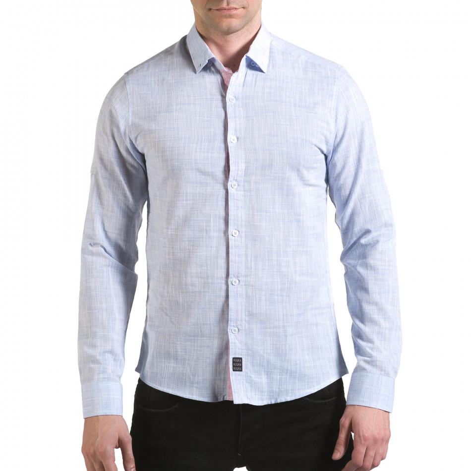 Мъжка синя риза изчистен модел il170216-120