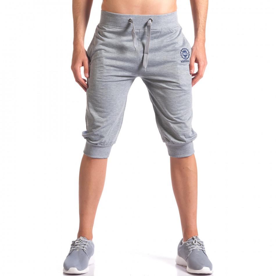 Мъжки сиви къси потури със странични джобове it250416-14