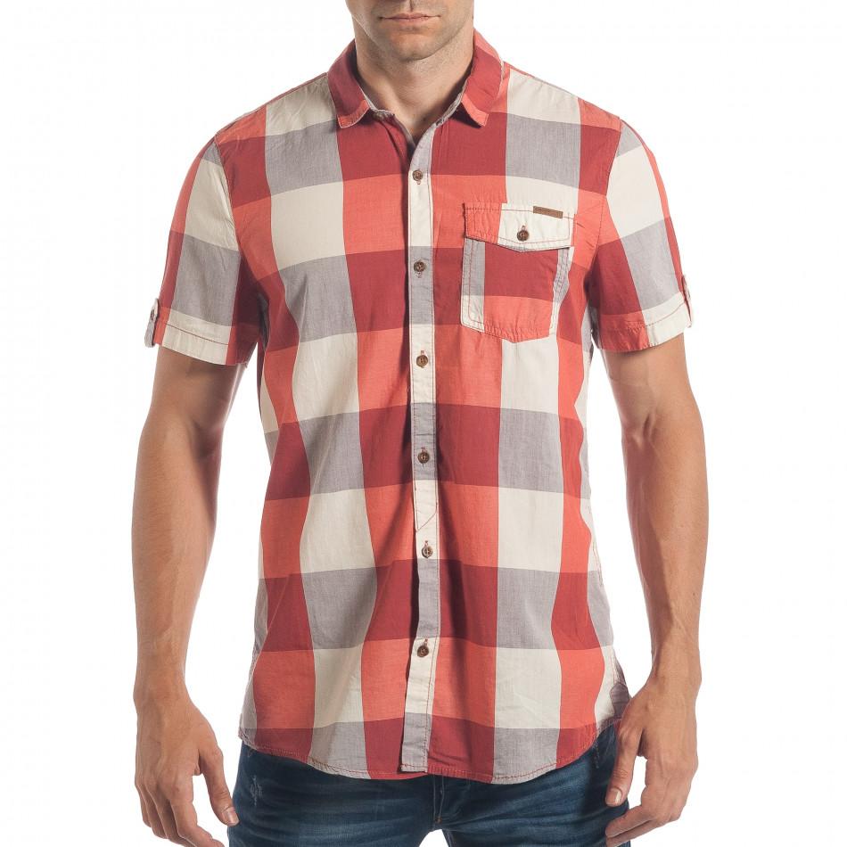 Мъжка риза с къс ръкав CROPP червено-бяло каре lp180717-124