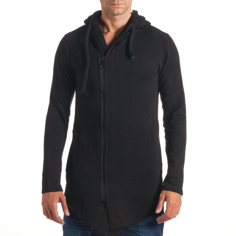 Черен мъжки суичър удължен модел it240816-46