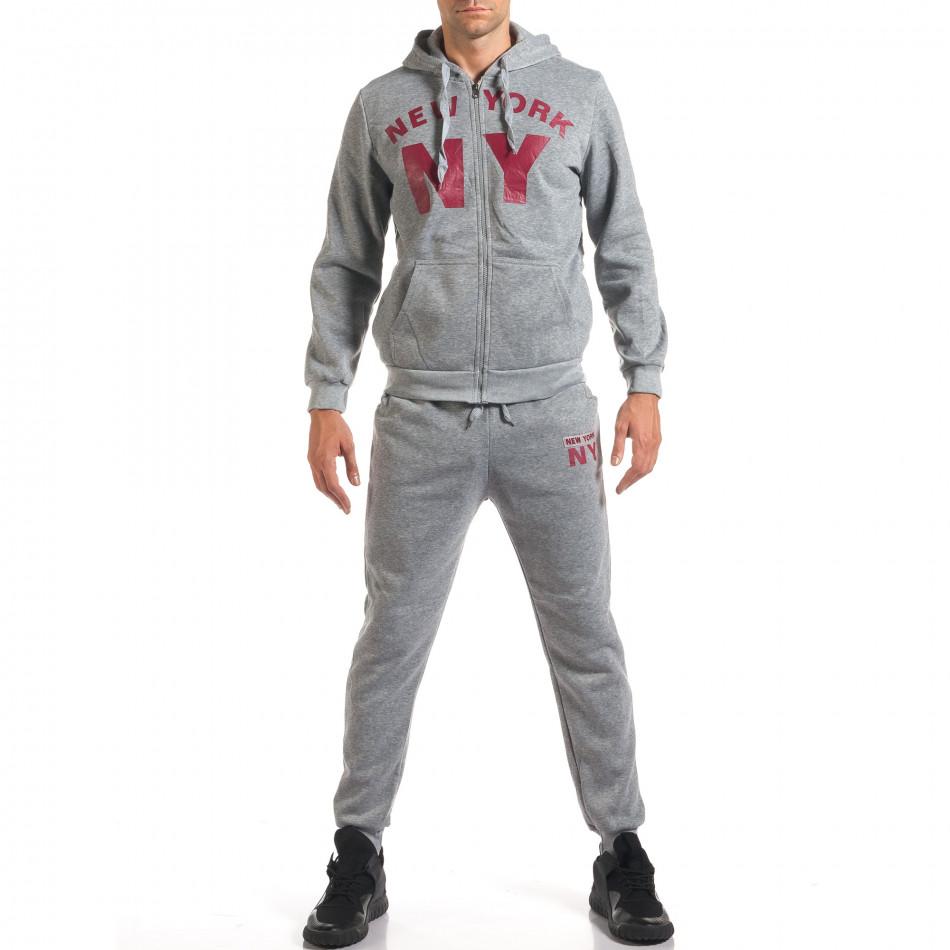 Мъжки сив спортен комплект NY it160916-62