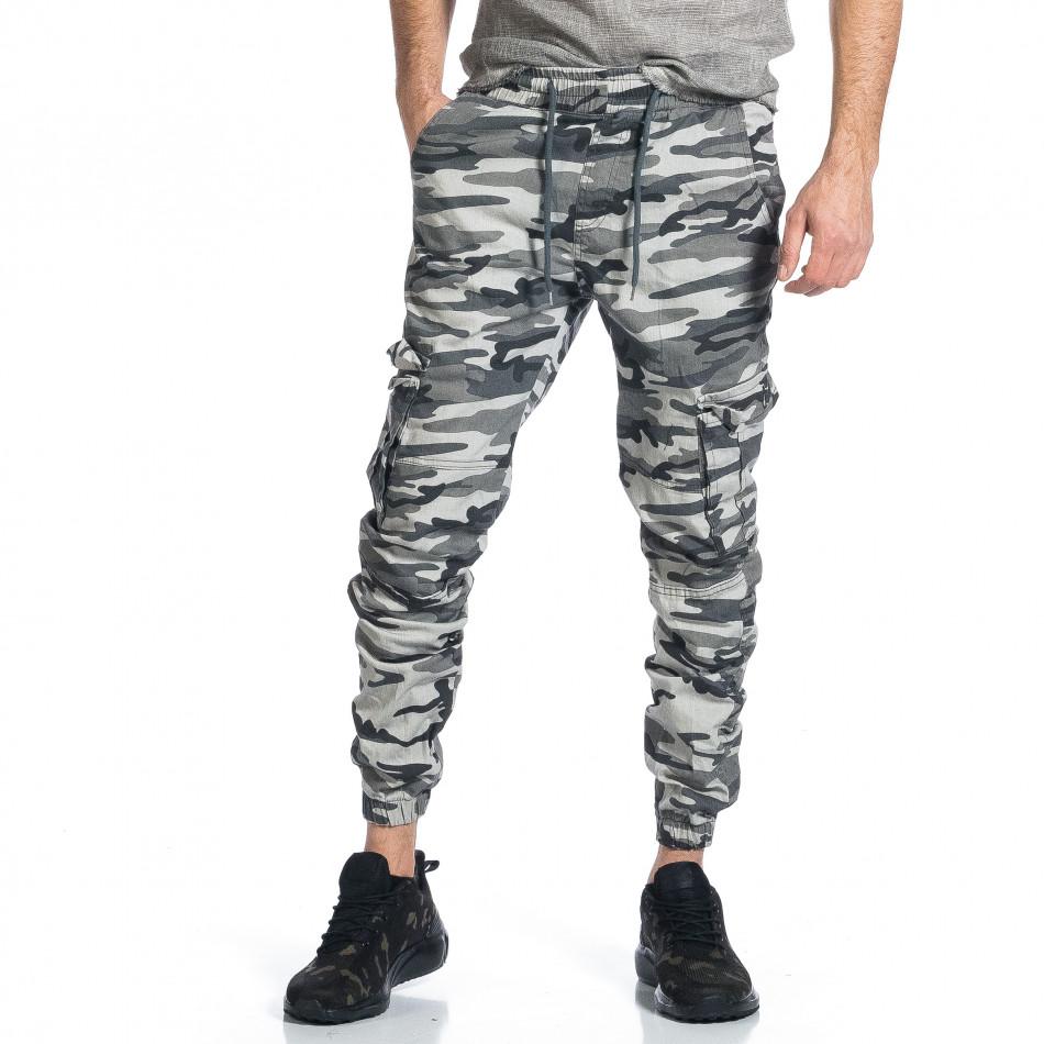Мъжки карго панталон сив камуфлаж tr270421-4