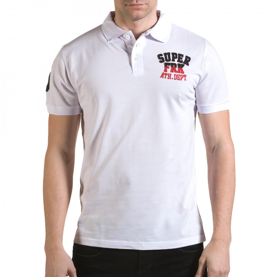 Мъжка бяла тениска с яка с релефен надпис Super FRK il170216-27