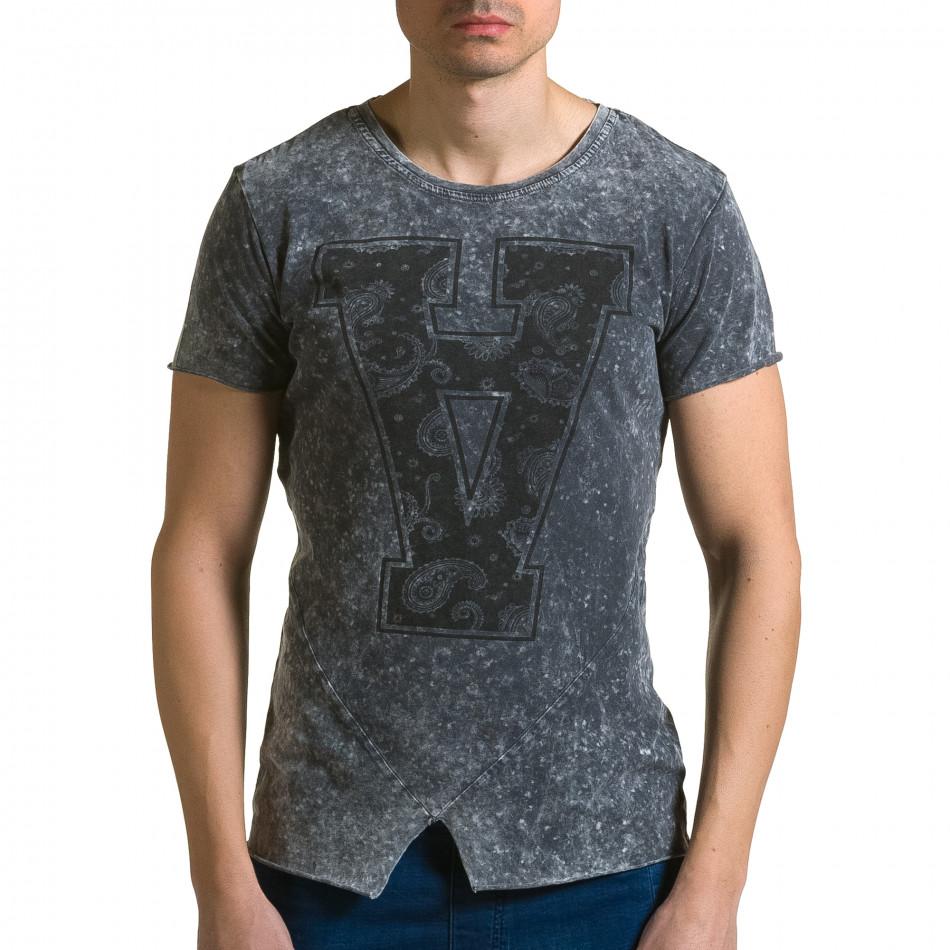 Мъжка сива асиметрична тениска с обърната буква А ca190116-48