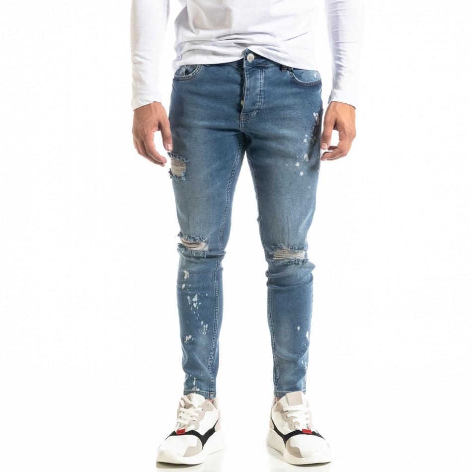 Мъжки сини дънки Destroyed Bleach tr020920-9
