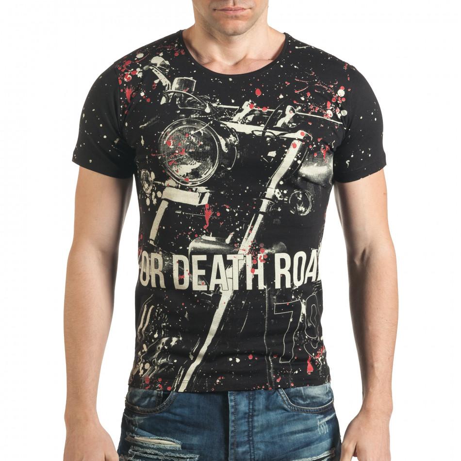 Мъжка черна тениска рокерска с разноцветни пръски боя il140416-62