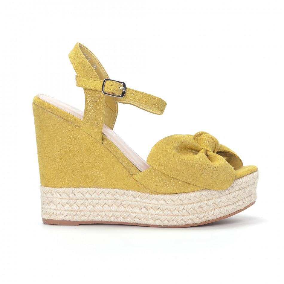 Дамски жълти сандали на платформа it230418-39