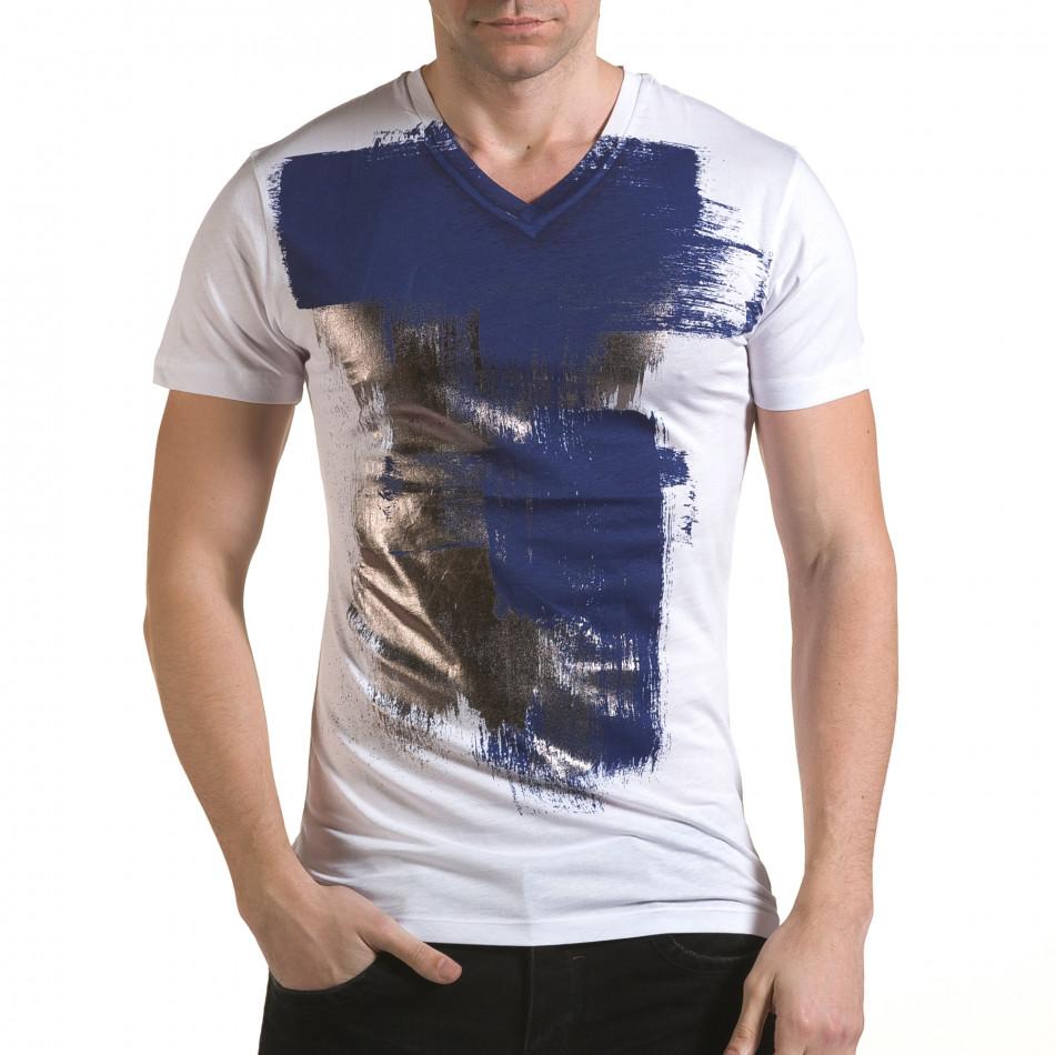 Мъжка бяла тениска със сребристо-син принт il170216-44